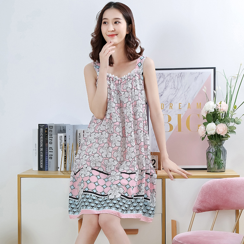 2020 Women's Midi Night Dress Printing Loose Elegant Feamle Sleepwear Sleeveless Spaghetti Strap Casual Nightwear for Women 1