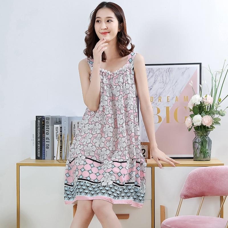 2020 Women's Midi Night Dress Printing Loose Elegant Feamle Sleepwear Sleeveless Spaghetti Strap Casual Nightwear for Women 1