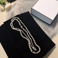Delicate sweater chain. Fashion long women's double necklace. Attend banquets and Party accessories. Natural Pearl jewelry.