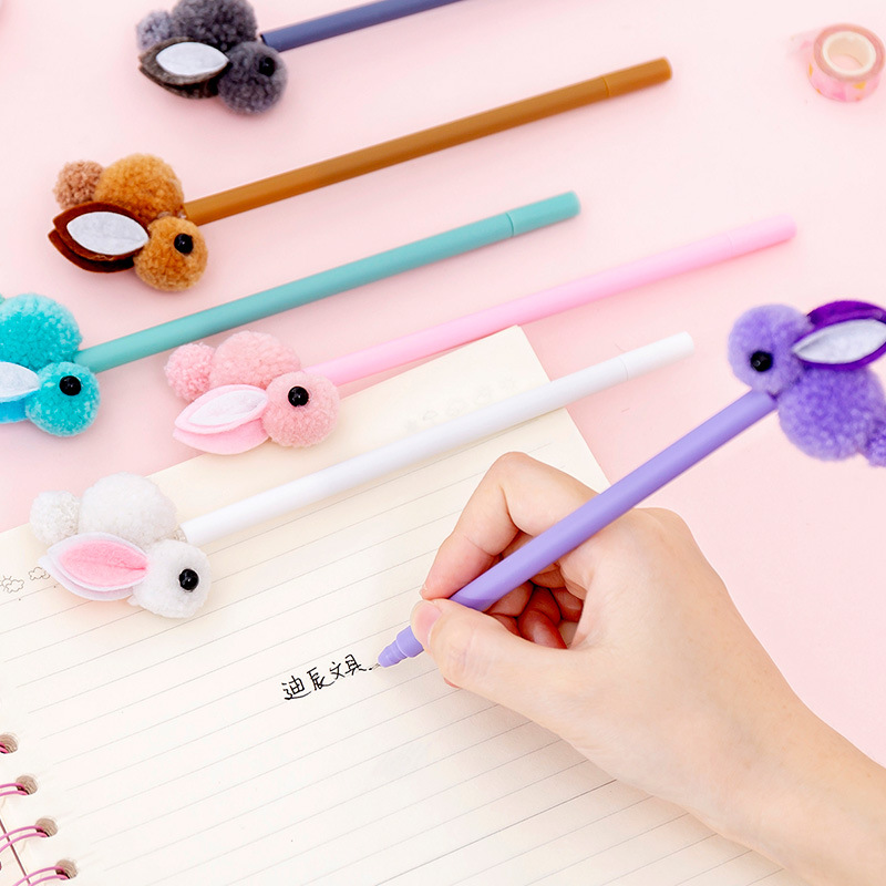 Kawaii Gel Pen Korea Creative Plush Ear Rabbit Gel Pen Cute Rabbit Signature Pen Kawaii Stationery School Supply Back To School