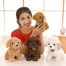 18CM /25CM Teddy Dog Kids Dolls Curly Stuffed Pet Soft Anime Decor Collection Teddy Dog Doll for Kids and Annual Party Gift