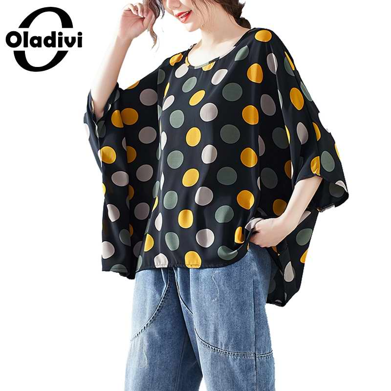 Oladivi Oversized Clothing Women Fashion Polk Dot Print Blouse Shirt Capes Ladies Casual Loose Top Tees Tunics Blusas Summer New