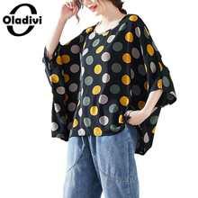 Oladivi Oversized Plus Size Women Fashion Polk Dot Print Blouse Shirt Capes Ladies Casual Loose Top Tees Tunic Blusa 8XL 7XL 6XL