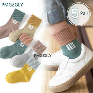 Kids Sock Spring Multi-Color Girls Winter Boys Cotton Student Children's Autumn 5-Pair