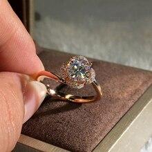 RongXing Vintage moda Rosa oro lleno de anillos de flores de circonio blanco para Mujeres Hombres joyería de boda anillo de compromiso femenino