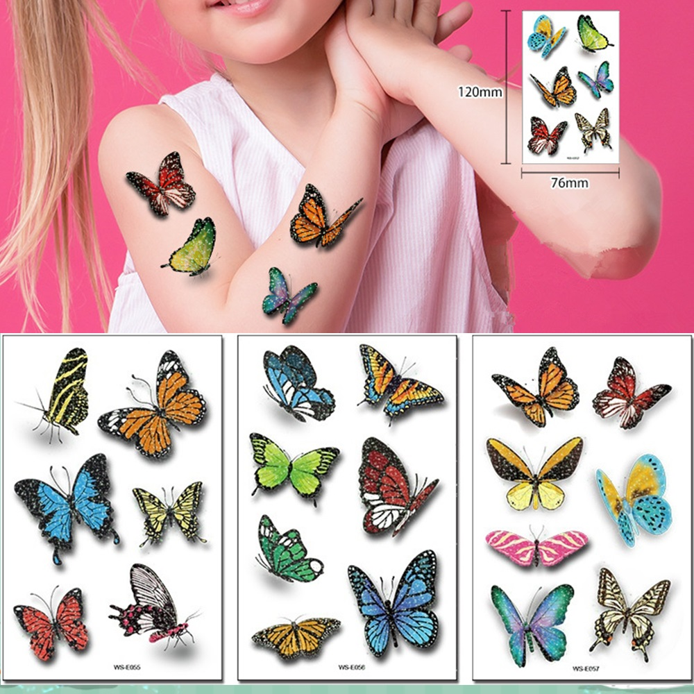 6 Kinds Glitter Powder Tattoos 3D Simulated Butterfly Temporary Body Stickers Disposable Children Adults Party Makeup