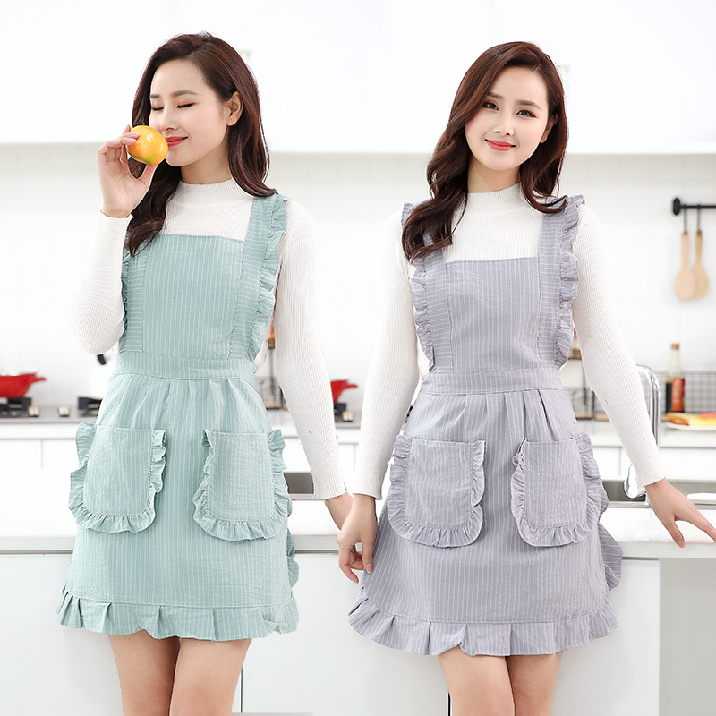 Apron Cotton Kitchen Household Double-deck Waterproof Blouse Women Oil-proof Work Clothes  Bakery Accessories
