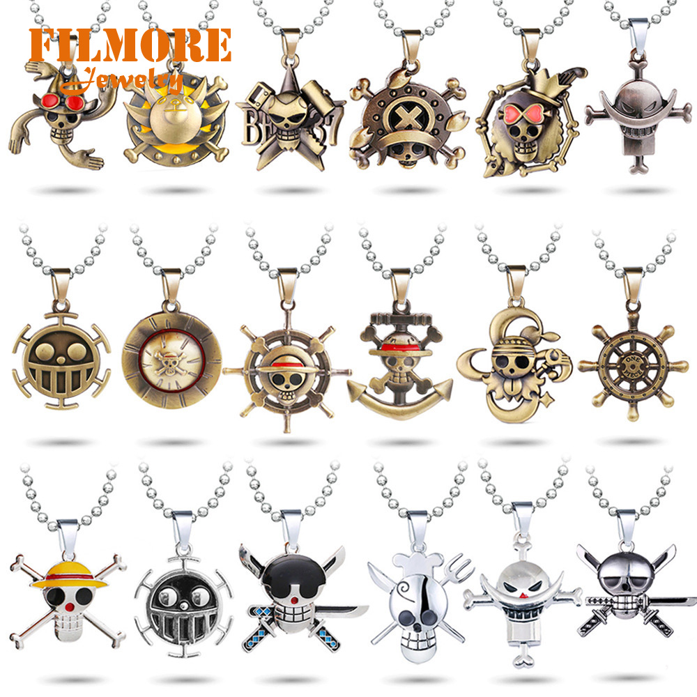 2018 Anime One Piece Luffy Straw Hat Bronze Metal Pendant Necklace Cosplay Gift