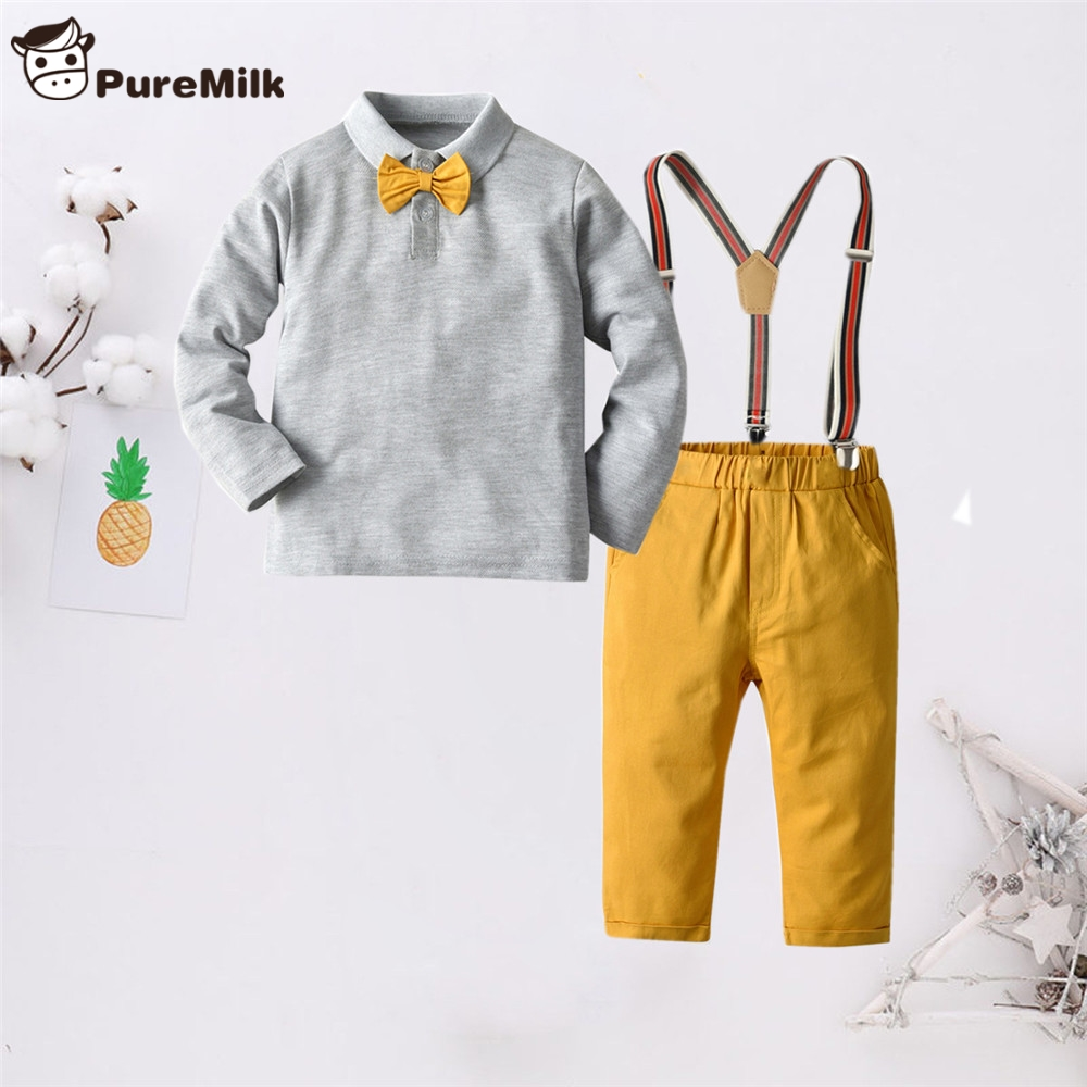PureMilk Boys Clothing Set Long Sleeve Cotton Shirt With Strap Pant Yellow Clothes For Kids 2Y-6Y