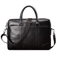 New Style Men's Leather Shoulder Bag Large Capacity Hand Business MEN'S Bag Full grain Leather Document Computer Shoulder Bag