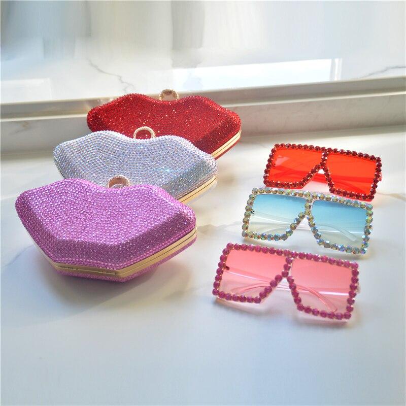Handbags for Women Luxury Purse and Sunglass Set Diamond Wedding Clutch Handbags Evening Bag Lip Rhinestones Bling Purse-BeeInFly