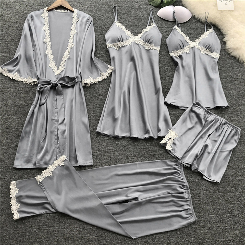 Women V-neck Nightdress Summer Babydolls Nightgown Sleepwear Sexy Lingerie Ladies Bathrobe Lace Multi -Piece Set Of Sexy Pajamas 3