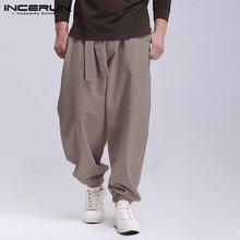 Мужские однотонные шаровары на завязках, Модные Винтажные тонкие Мешковатые повседневные брюки, мужские спортивные штаны, уличная одежда INCERUN