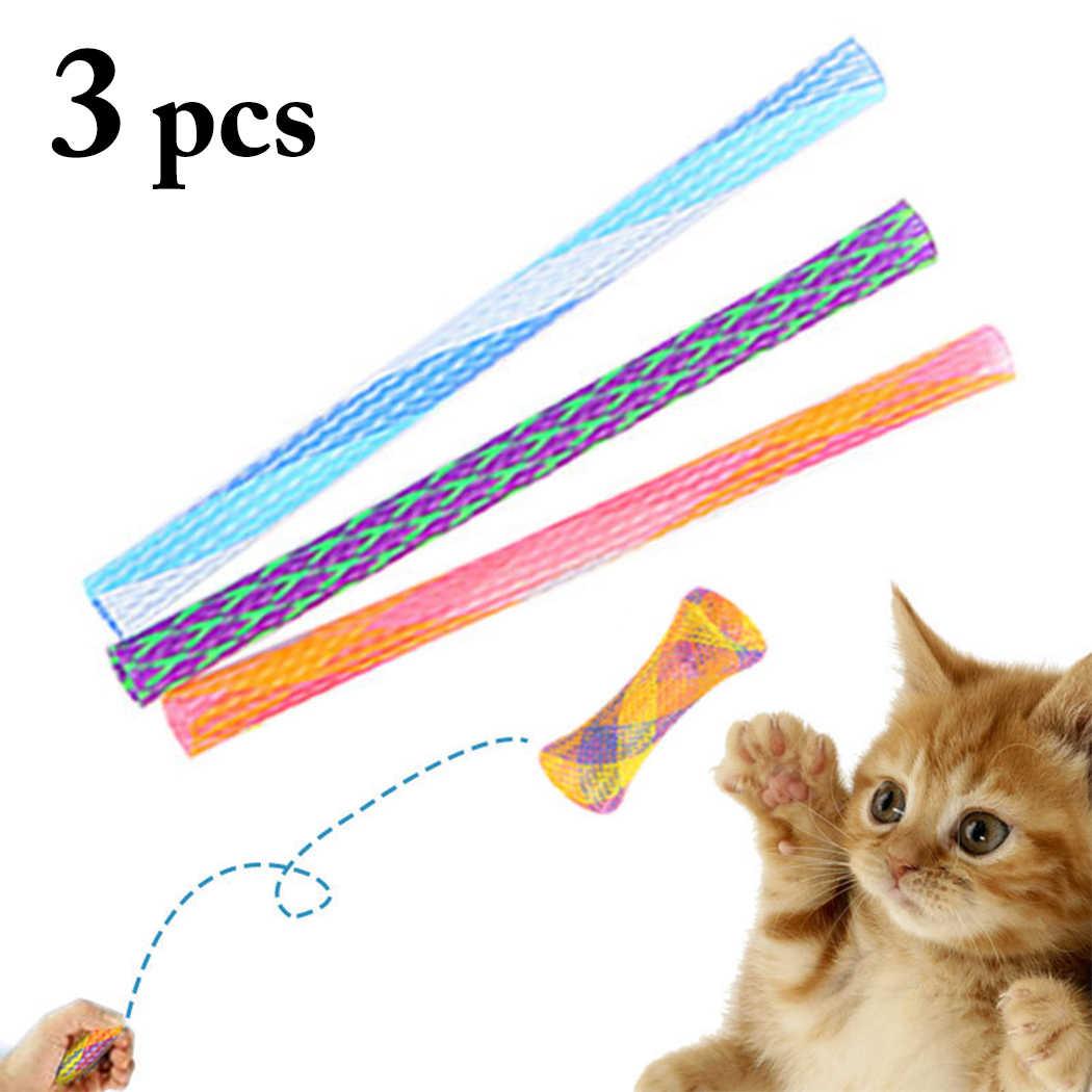 3pcs 자유롭게 접는 봄 모양 고양이 튀는 장난감 좋은 탄력 애완 동물 재미 있은 놀이 장난감 용품 고양이 상호 작용하는 장난감 고양이 티저
