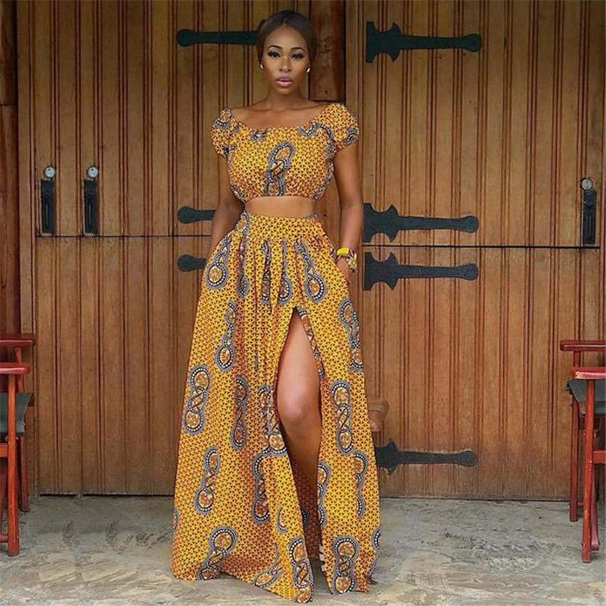2020 Summer African Dresses For Women Floral Print Dashiki Bazin Ladies Clothes Sexy Shoulder Off Robe Africaine Bohemia Skirt