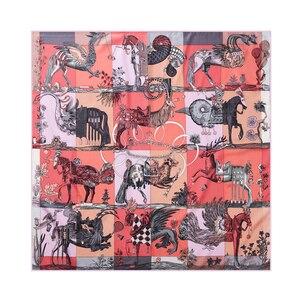 90 см шелковый квадратный шарф с изображением летящей лошади, женский роскошный брендовый шарф-хиджаб ручной работы, бандана, платок-платок