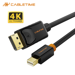 Port mini-wyświetlacza CABLETIME do wyświetlania kabla portu 4K 60HZ kabel Thunderbolt do DP 4K Mini DisplayPort DP dla Macbook C052