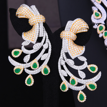 GODKI Nigerian Dubai Bridal Wedding Luxury 4 PCS Jewelry Set Necklace Dangle Earrings Bracelet Resizable Ring Bridal Wedding Set 2