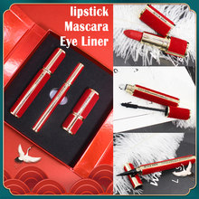 Chinese Stijl Make-Up Set Lipstick + Mascara + Eyeliner Set Mascara Vide Waterproof Eyeliner Magnetische Paillette Kleur Blanc Magnetische(China)