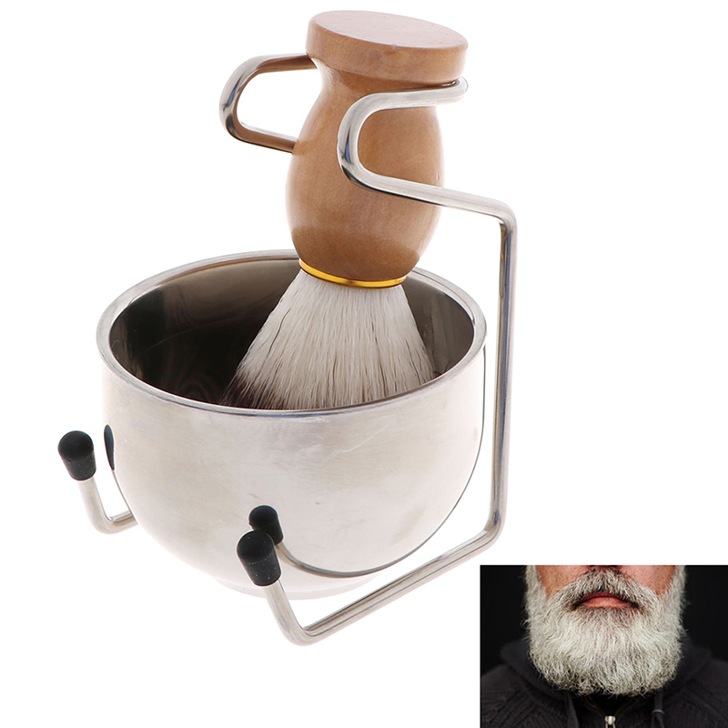 3 In 1 Stainless Steel Shaving Soap Bowl +Shaving Brush+ Shaving Stand Bristle Hair Shaving Brush Men Beard Cleaning Tool Set