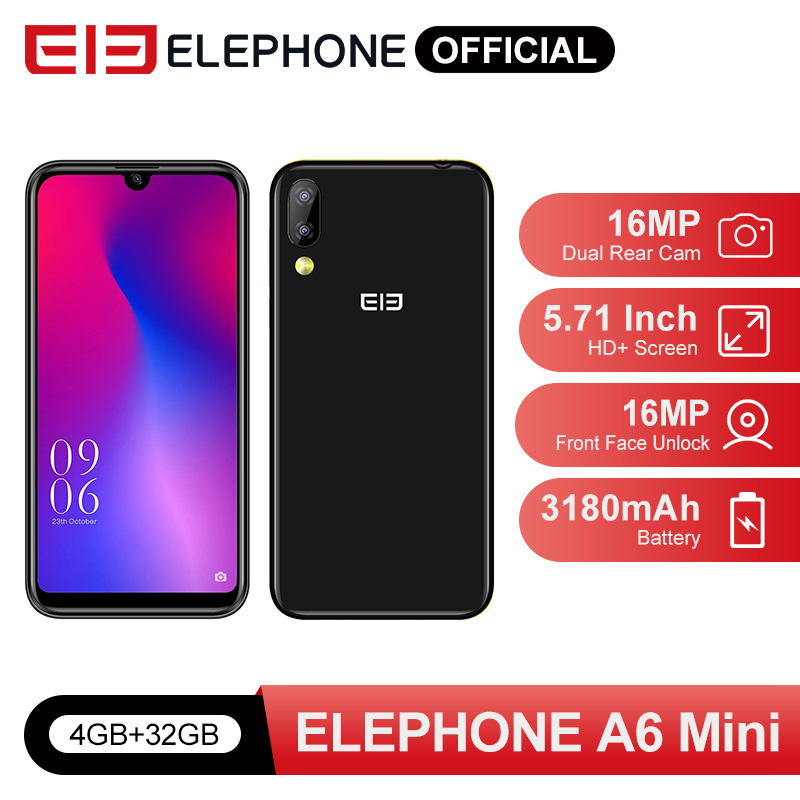 Elephone A6 Mini 4GB 32GB Smartphone Android 9.0 5.71 Inch Waterdrop Screen MT6761 Quad Core HD+16MP 3180mah 4G Mobile Phone
