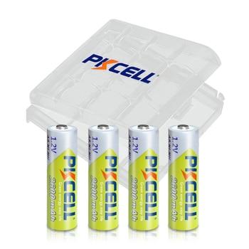 4PC x PKCELL AA Batteries NI-MH 2600Mah 1.2V AA Rechargeable Battery Batteries 2A Bateria Baterias with AA Battery Hold Case Box