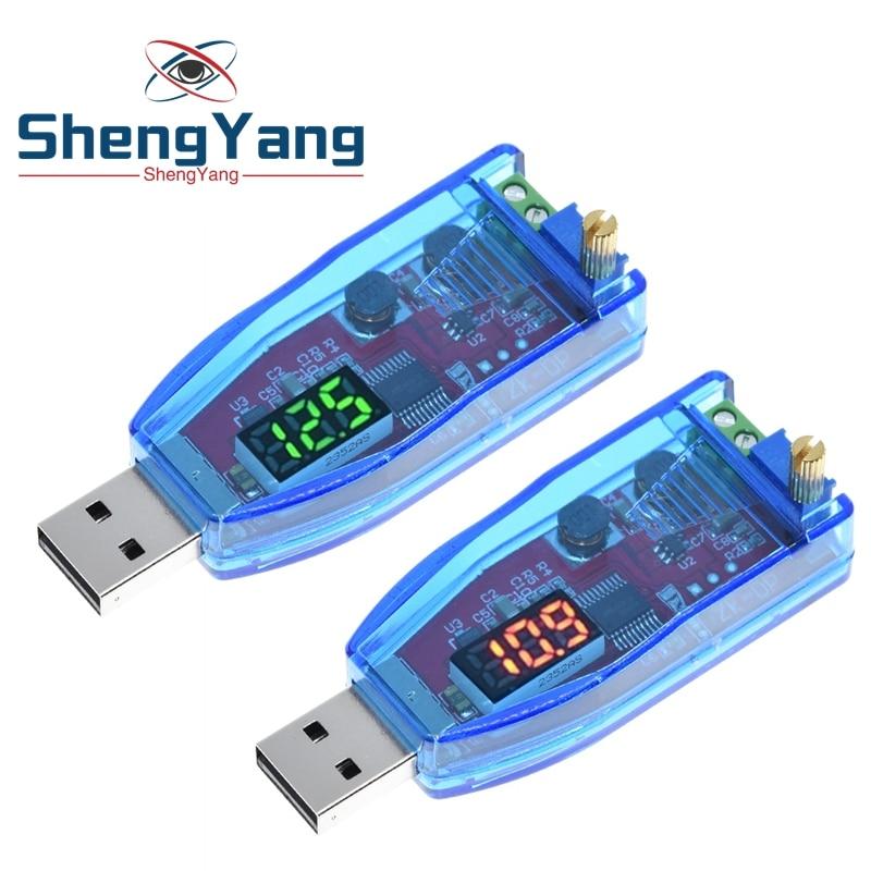 Светодиодный потенциометр 5 В в пост. Тока 1-24 В, Регулируемый USB повышающий/понижающий преобразователь напряжения, модуль регулятора напряж...