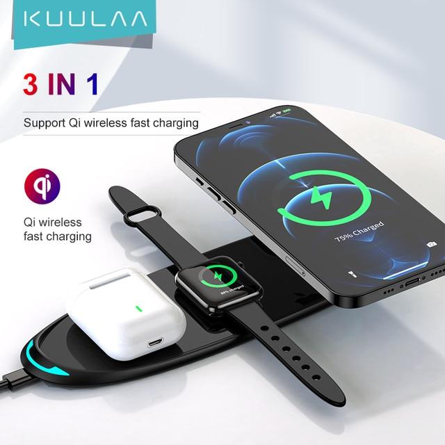 Беспроводное зарядное устройство KUULAA 3 в 1 для iPhone 12 Samsung 1
