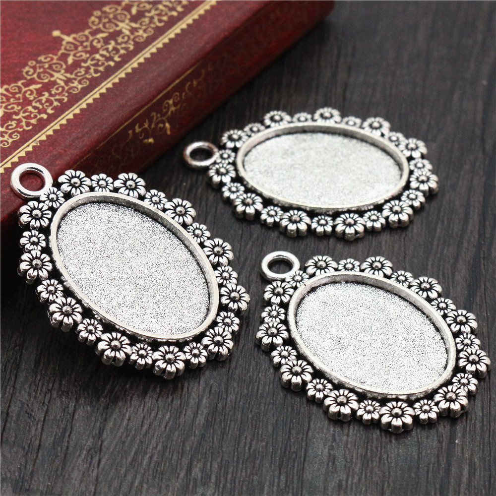 3pcs 18x25mm Inner Size Antique Silver Plated Flowers Style Cameo Cabochon Base Setting Pendant Necklace Findings  (C2-31)