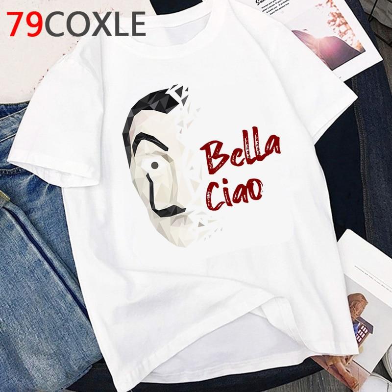 La Casa De Papel T Shirt Men Funny Cartoon Money Heist Tshirt House Of Paper Kawaii Anime Bella Ciao Unisex Graphic Tees Male