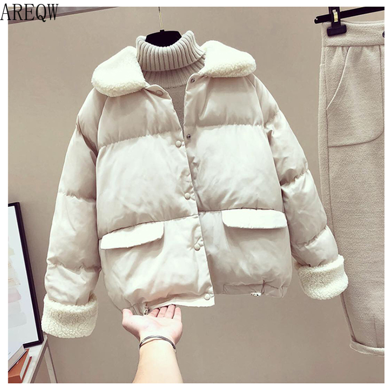 Winter Jacket Women Lamb   Parkas   Fur   Parka   Puffer Jacket Gothic Harajuku Kawaii Korean Bubble Coat   Parka   Womens Coats Winter