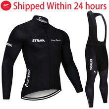 2021 STRAVA Pro Team Long Sleeve Cycling Jersey Set Bib Pants Ropa Ciclismo Bicycle Clothing MTB Bike Jersey Uniform Men Clothes
