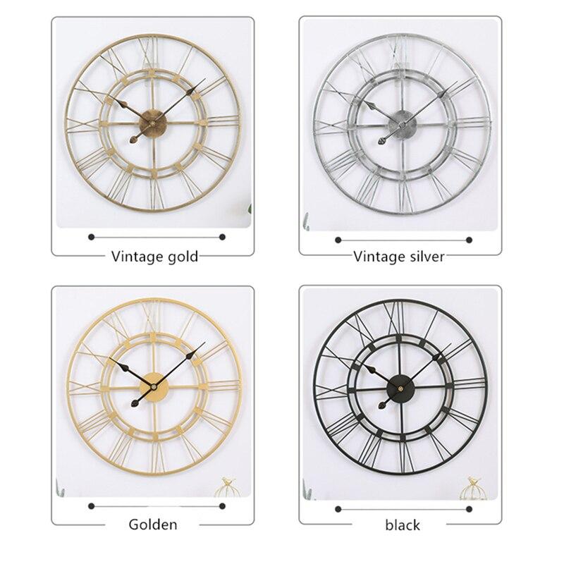 40/60CM Nordic Metal Roman Numeral Wall Clocks Retro Iron Round Face Black Gold Large Outdoor Garden Clock Home Decoration
