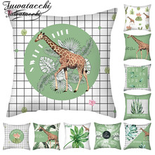 Fuwatacchi Succulent Plant Printed Cushion Cover Green Plaid Throw Pillowcases for Home Decorative Pillow Cover 45x45cm fuwatacchi snowman cushion cover christmas day gift decorative pillows cover for home sofa polyester throw pillowcases 45 45cm