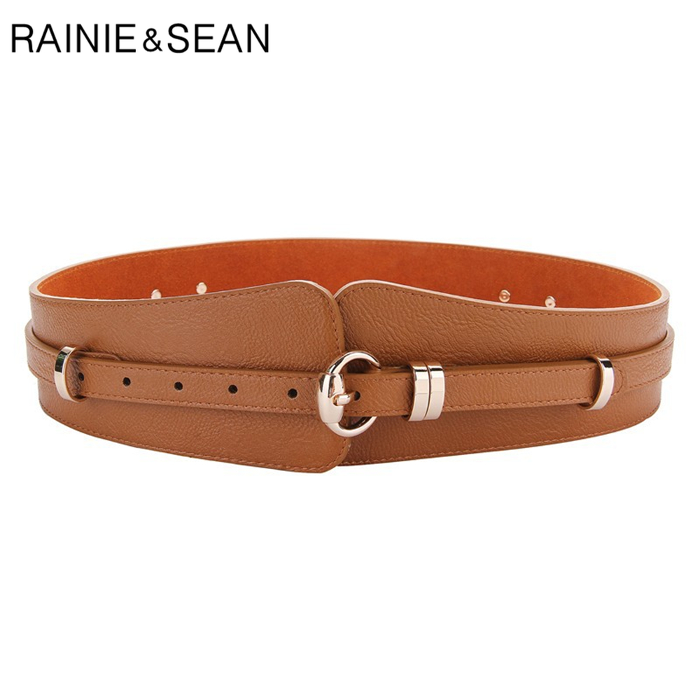 RAINIE SEAN Wide Belts For Dresses Genuine Leather Cummerbunds For Women Brown Black Real Cowskin Vintage Brand Wide Corset Belt