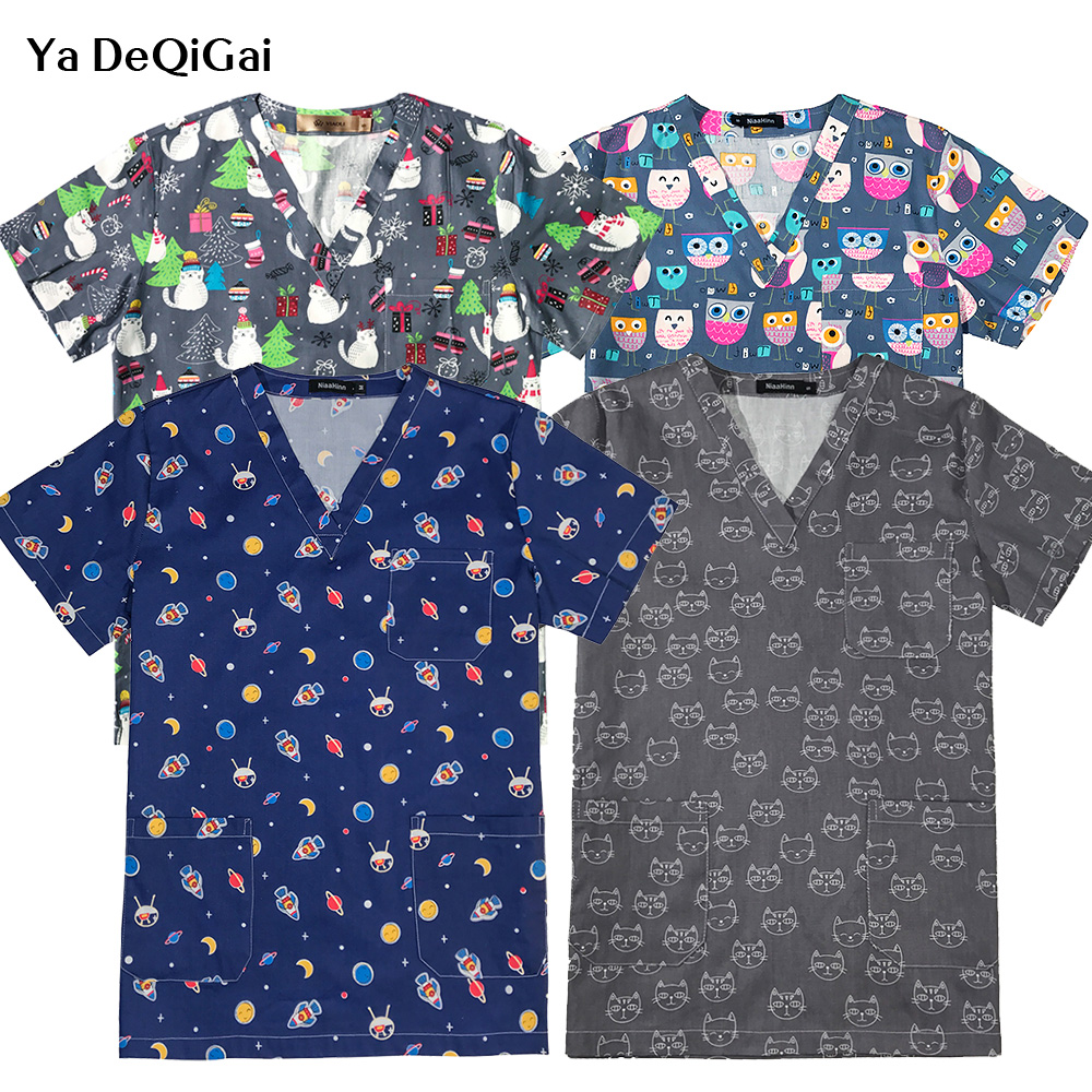 Hospital Nurse Scrub Tops High Quality Medical Cartoon Uniform Surgical Dentist Clinic Pharmacy Pet Doctor Beauty Salon Uniforms