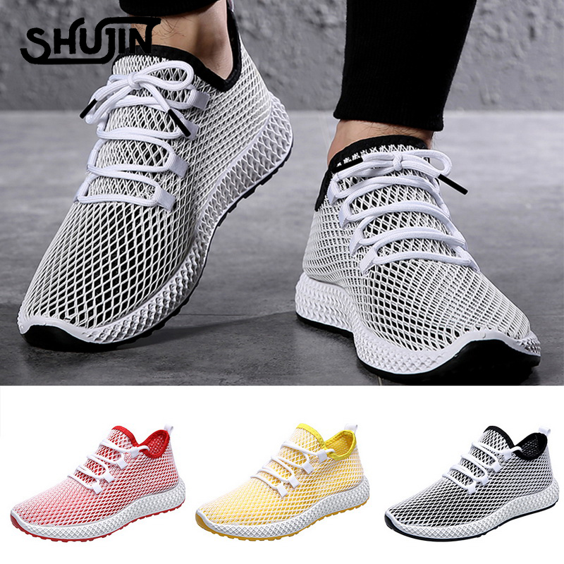 Men Breathable Sports Shoes Male Vulcanize Mesh Slip- Flat-Soled Walking Running Sneakers Casual Lace-up Shoes 39-44