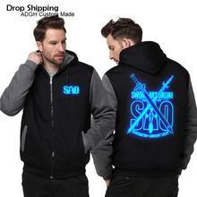 Anime espada arte on line sao inverno casual hoodies moletom com capuz jaquetas casaco lunminous quente mais grosso velo hoodies