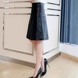 Image 5 - 2020 printemps femmes Midi jupe mode noir vert grande taille 4XL tenue de bureau taille haute a ligne Faux cuir jupe hiver