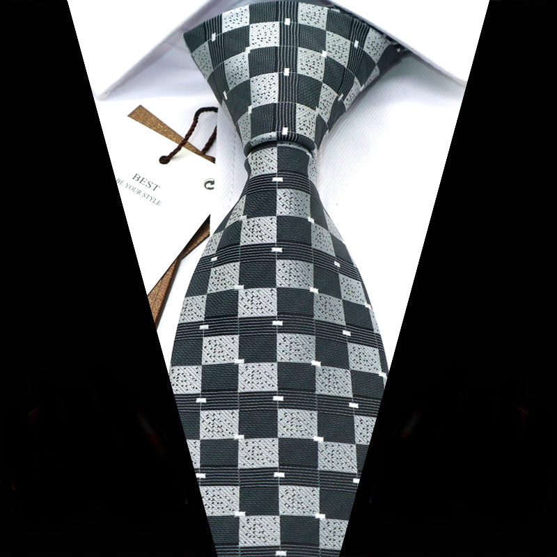 YISHLINE Mens Ties 8 Cm Dots PLAIDS Patterns Jacquard Woven Necktie Men Tie 2020 Wedding Party Business Corbata Para Hombre