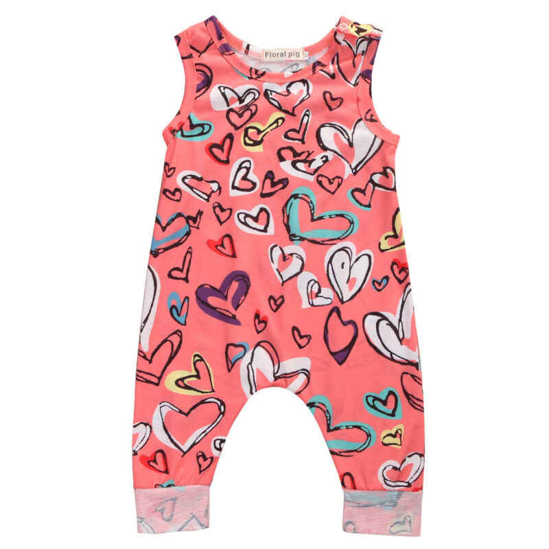 Fashion Clothes Hot Toddler Newborn Baby Girls Boys Kids Unisex Heart Sleeveless Harem Romper Cotton Sweet Outfits 0-24M