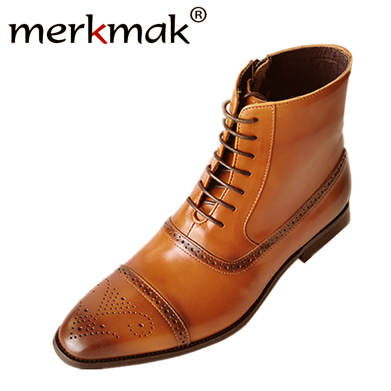 Merkmak Bullock Men Boots Winter Warm Men Boot Lace Up Casual Male Leather Safety Work Shoes High Snow Boot Big Size Footwear