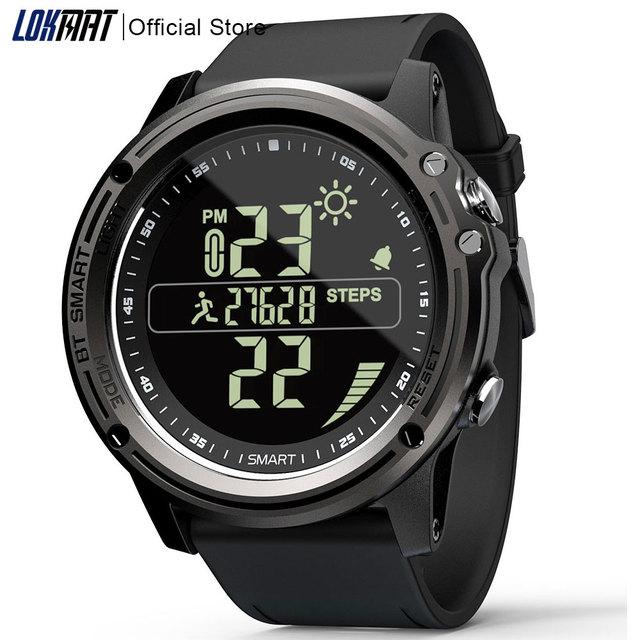 Lokmat bluetooth smartwatch esportes pedômetro 5atm à prova dreal água tempo real relógio digital relógio inteligente masculino para ios & android