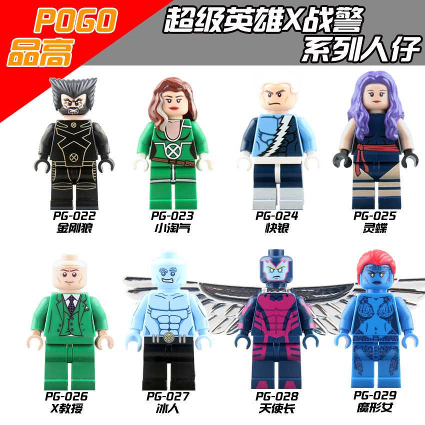 Super heróis wolverine rápida prata rogue colosso cabo branco rainha x-men escorpião blocos de construção crianças presente brinquedos