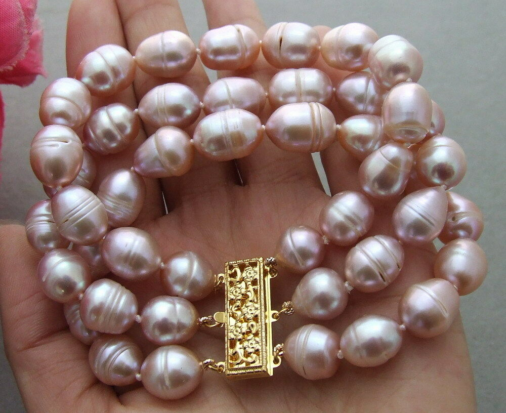 Beautiful 8'' 3Strands 10-11mm Purple Rice Freshwater Pearl Bracelet