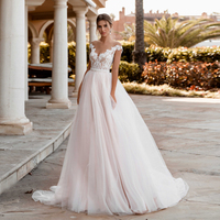 V neck Off the Sleeves Blush Pink A line Wedding Dress Beading Belt Empire Bridal Gowns wedding gowns for bride