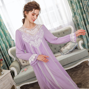 Image 3 - Women Sleepwear Princess Sleeping Skirt Long Sleeve Lace Dress French Court Cotton Retro Victorian Nightgown Elegant Romantic