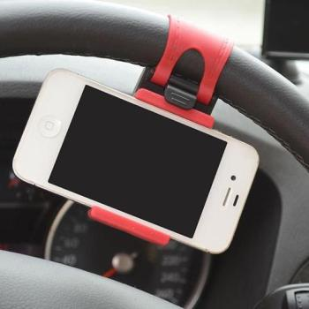 Auto Car Steering Wheel Mount Holder Rubber Band for iPhone Smartphone GPS image