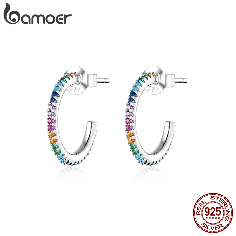 bamoer Rainbow Color Half Hoop Earrings for Women Real 925 Sterling Silver CZ Wedding Enagement Statement Jewelry SCE837(China)