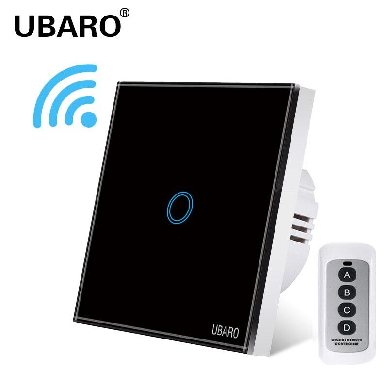 UBARO-Interruptor de Control remoto inalámbrico para lámpara, Panel de cristal negro, luz de pared para casa inteligente, 1/2/3 entradas